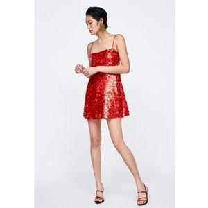 Zara Mermaid Sequin Mini Dress Orange Small